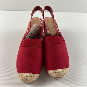 Women's Red Espadrille Elasticated Strap Wedge Sandal Heel Shoes Size 11